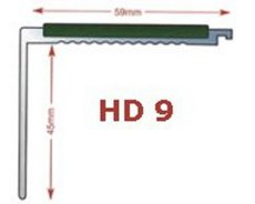 HD9 -   Heavy Duty - aluminium stair nosing in mill finish 5mm gauge drilled  - ideal for medium to heavy traffic areas