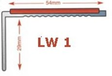 LW1   - Standard  drilled aluminium stair nosing in mill finish 3.5mm gauge - ideal for light traffic areas